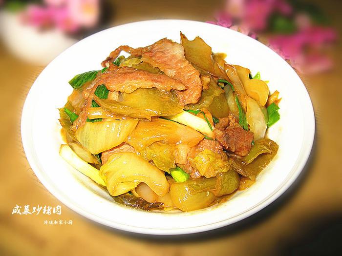 a咸菜咸菜菜谱--潮汕家常菜【猪肉炒家常】-我猪腰电饭煲做法图片